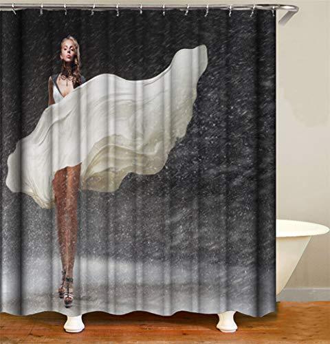 ZZZdz Sexy Mädchen Steht Im Starken Regen. Duschvorhang 3D Hd-Druck Verblasst Nicht 180X180 cm Wasserdichtes Gewebe 12 Freie Haken Hauptdekoration.