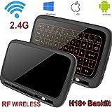 LinStar Tastiera e Mouse Wireless, Mouse Wireless H18 + 2.4G Mini touchpad Wi-Fi Retroilluminazione Mouse Wirele Touchpad e Combo per Android TV Box, PC