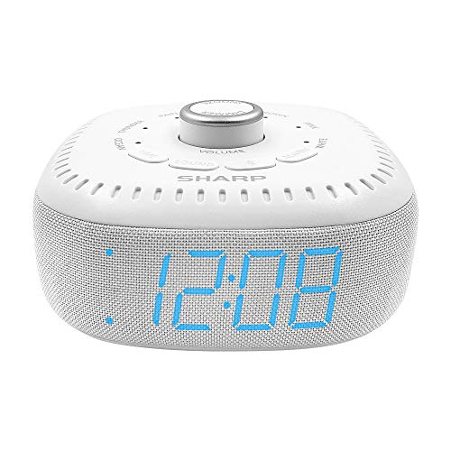 DreamCaster by Sharp Sound Machine Alarm Clock with Bluetooth Speaker, 6 High Fidelity Sleep Machine Soundtracks – White Noise Machine for Baby, Adults, Home and Office – Blue LED