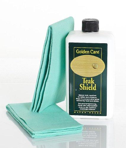 Golden Care Teak Shield + 2 Applikatortücher Fleckenschutz Holzschutz Holzpflege für Gartenmöbel Versiegler