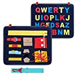Busy Board for Toddlers, Busy Board Montessori Basic Motor Skills Early Educational and Sensory for 1 2 3 4 Year-Old Toddlers with Zippers, Buttons, Buckles, Braids