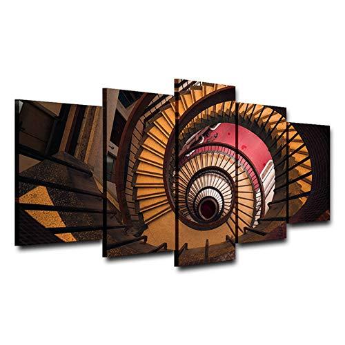 CYZSH Wendeltreppe Künstlerischer Druck Zeichnung Dekor Leinwand Spray Ölgemälde Dekoration Für Zuhause Gedruckt Wandkunst Bild Ae1238