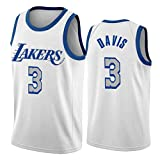 ZCGS Anthony Davis Camiseta Blanca de Los Angeles Lakers 3# 2021 City Edition Baloncesto Camisetas Unisex Swingman Camiseta Tank Top (S-XXL) XL
