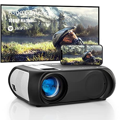 Proyector Cine en Casa de 6500 Lúmenes,Full HD WLAN 2.4G / 5.0G WiFi Proyector Portáti 1080P Compatible con TV Stick Smartphone HDMI VGA USB TF AV, Video Beamer para Home Theatre
