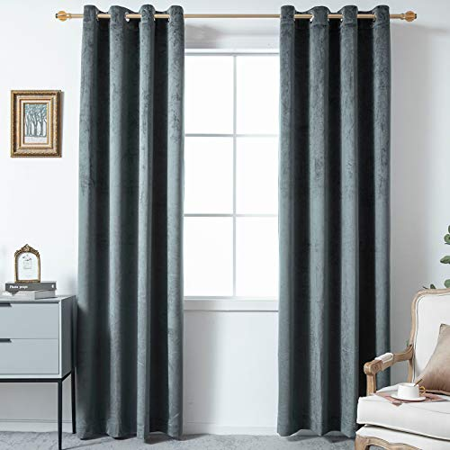 YIGUAN Dark Grey Velvet 100% Blackout Curtain - Thermal Insulated Grommet Solid Room Darking Window Drapes Noise Reducing Soft and Smooth for Bedroom/Living Room/Home (52'' X 63'',2 Panels)