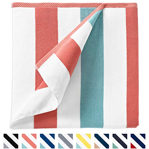 Cabana Beach Towel by Laguna Beach Textile Co, Oversized Coral and Sea Glass Summer Sunbathing and Pool Side Lounge Comfort, Plush Cotton Softness with Colorful Stripes, Large 70†x 35â€
