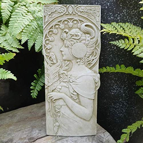 FSL Garden Plaque Art Deco style Lady Wall Plaque with ornate headdress Grey Stone Resistant