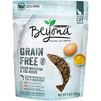 Purina Beyond Grain Free Ocean Whitefish & Egg Recipes Natural Cat Snacks, 6 oz. Pouch (Pack of 6)