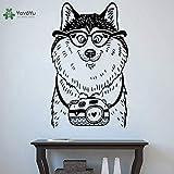 hetingyue Appliques murales en vinyle Chien Mignon lunettes caméra Animal de Bande dessinée Dessin animé drôle Enfants Stickers muraux 63x102cm