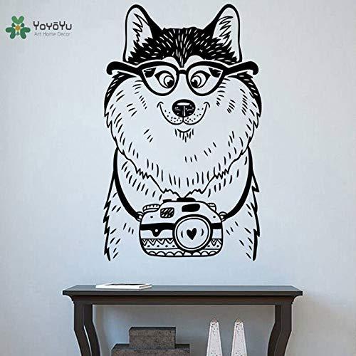hetingyue muursticker van vinyl, voor honden, schattig, bril, camera, dier, cartoon, grappig, kinderen, muursticker