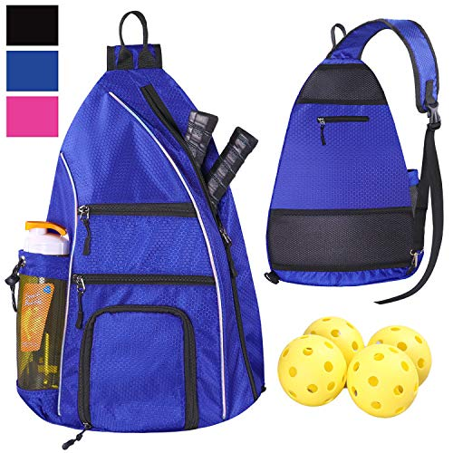 LLYWCM Crossbody Backpack for Sports and Travel - Pickleball Bag for Men and Women (Blue)