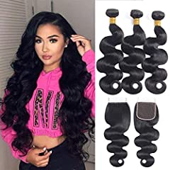 💯Hair Material:Brazilian Body Wave Human Hair Bundles with Closure,8A Virgin Hair 3 Bundles With Lace Closure 💕Hair Weight & Length: 95-100g(3.3-3.5oz)/Bundle, Multiple Choices, 8-28inch. Top Quallity Closure, 130% Density 4x4 Brown Lace,35-50g/Bundl...