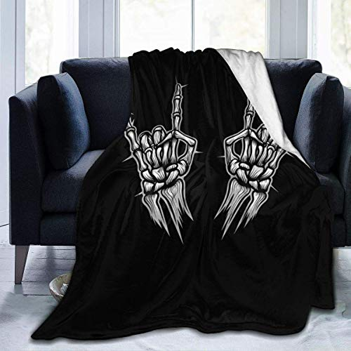 Rock N Roll Skelett Hand Cute Throw Decke Flanell Decke Ultra-Soft Micro Fleece Decke für Bett Couch Sofa , 50x40 Zoll