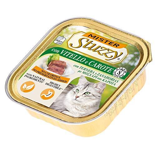 Stuzzy Mister, Comida húmeda para Gatos Adultos, Sabor Ternera y Zanahorias, línea paté y Carne en trozos - Total 3,2 kg (32 tarrinas x 100 gr)