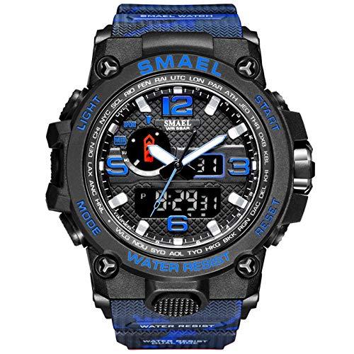 JTTM Hombre Reloj Deportivo Reloj Digital Reloj De Caza Silicona 50 M Resistente Al Agua Cronómetro Noctilucente Analógico-Digital Dual Display Digital LED Electrónico Wrist Relojes,Camouflage Blue