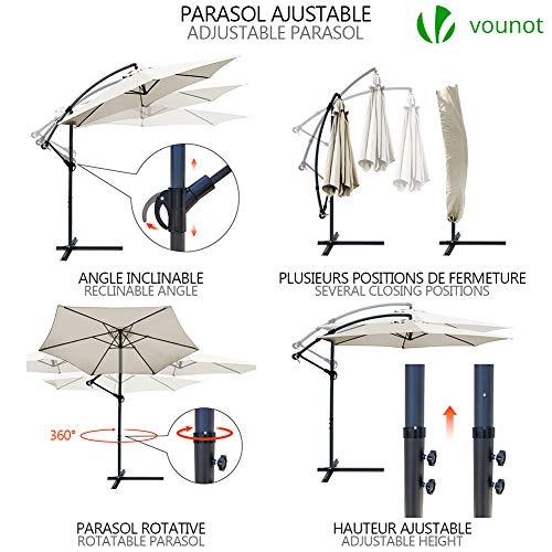 Parasol déporté hexagonale 3M avec Manivelle Anti-Retour   Parasol déporté inclinable   Toile 180 gr/m2 avec protection UV   Hauteur 2m50 – 6 Baleines en acier   Inclus housse de protection Beige