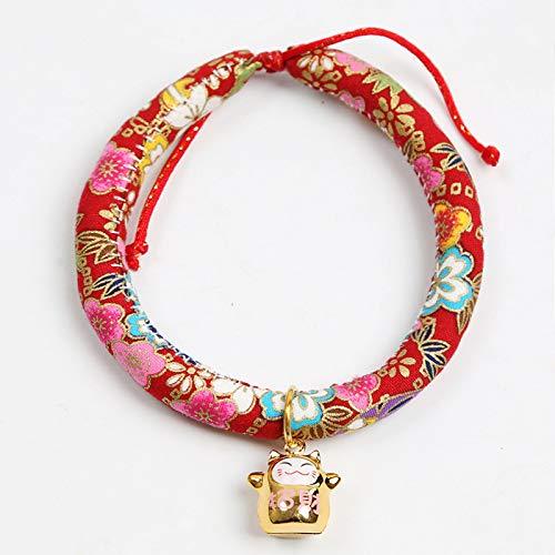 MYYXGS Pet Bell Tie Hund Katze Blume Stil Krawatte Tier Urlaub Kragen und Fortune Cat Bell verstellbare Krawatte japanische Handarbeit (3er Pack) S-20-25cm