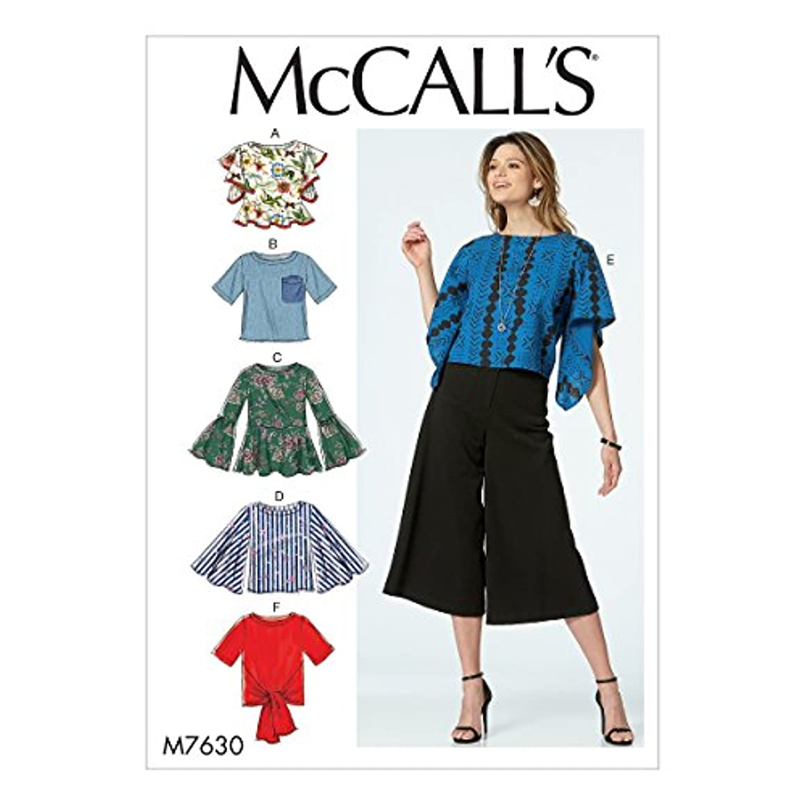 McCall's Patterns M7630E50 Misses Tops with Sleeve and Hem Variations