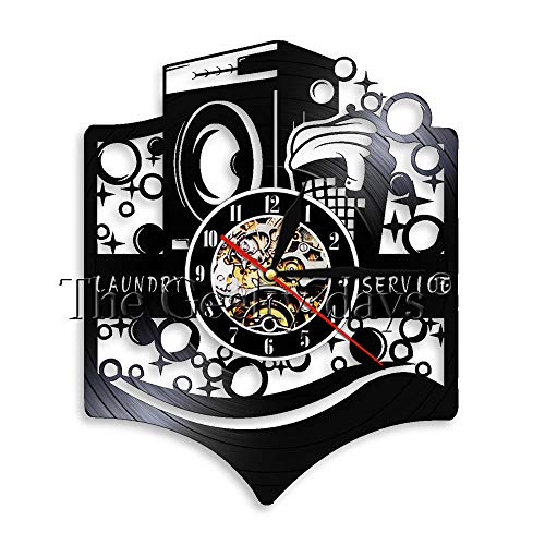Wäscherei Moderne Schallplatte Wanduhr Waschmaschine Wäschekorb Wäscheservice Haus Deko Waschsalon Wandkunst Uhr Uhr-Ohne