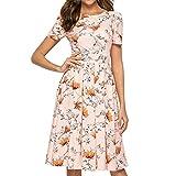 Wtouhe - Abito da donna, modello 2020, estivo, alla moda, a maniche corte, scollo rotondo, stile bohémien, con stampa floreale, stile vintage, chic, cerimonie, da donna, taglia impero Rose 1 S