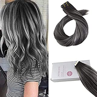 Moresoo 20 Inch Remy Human Hair Tape in Extensions Balayage Two Tone Colored Off Black to Gray Silver 20pc Per Pack 50g Seamless Human Hair Extensions Skin Weft Extensions