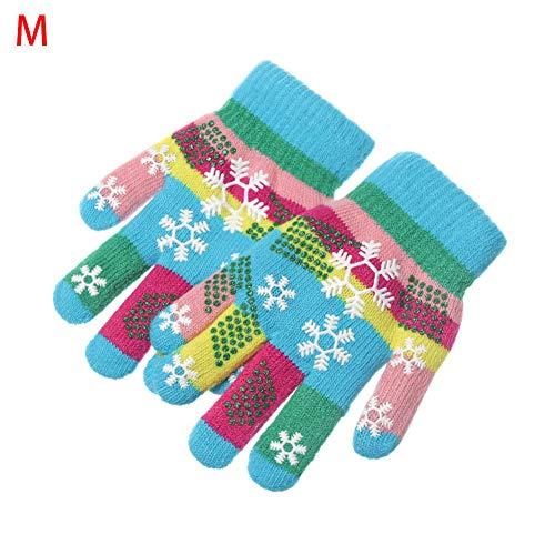 YUKNICO 1 para kinderen herfst winter warme gebreide handschoenen dubbellaags verdikking thermische handschoenen mode bonte sneeuw bedrukte warme handschoenen