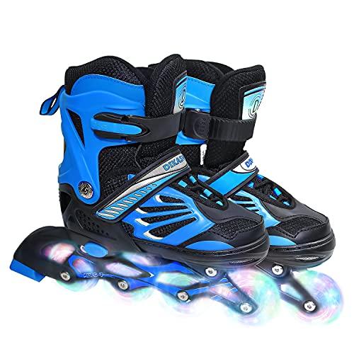 Inline-Skates für Kinder /Erwachsen, Klingen Rollschuhe für Mädchen, Jungen und Jugendliche, Verstellbare Inlineskates Inliner für Kinder Damen Herren,3 Größen, Größe 28-42, Rollerskates