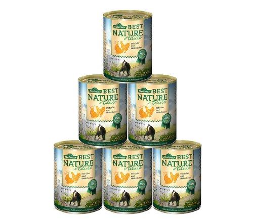 Dehner Best Nature Katzenfutter Adult, Geflügel und Leber mit Haferflocken, 6 x 400 g (2.4 kg)