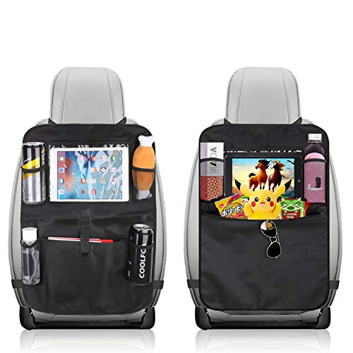 KLYDZ Organizador para asiento trasero de coche con 5 bolsillos de almacenamiento, 2 paquetes impermeables y duraderos para asientos de coche, alfombrillas para coche, accesorios de viaje (negro)