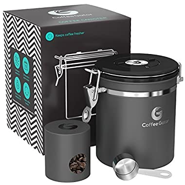 Coffee Gator Stainless Steel Container - Canister with co2 Valve, Scoop, and Travel Jar - Medium, Gray