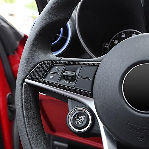 Decorazioni per volante in plastica ABS, in fibra di carbonio, per Giulia Stelvio, 2 pz.