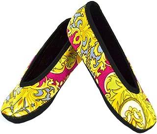 NuFoot Ballet Flats Women's Shoes, Best Foldable & Flexible Flats, Slipper Socks, Travel Slippers & Exercise Shoes, Dance Shoes, Yoga Socks, House Shoes, Indoor Slippers, Pink Baroque, Large