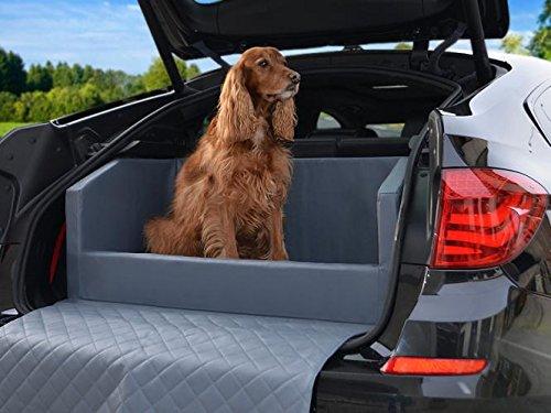 PadsForAll Auto Hundebett - Kofferraum Schutzdecke - Autoschondecke in Grau Kunstleder