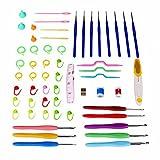 Agujas Ganchillo, Crochet Aluminio de Agujas de Ganchillos con el Apretón de Goma Suave Colorido Asas Embalado en Caja de PVC para el Regalo de las Madres de las Niñas