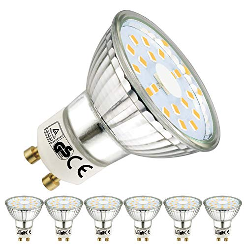 EACLL Bombillas LED GU10 4000K Blanco Neutro 5W 450 Lúmenes Equivalente 50W Halógena Lámpara. 120 ° Luz Blanca Neutra natural Spotlight, 6 Pack