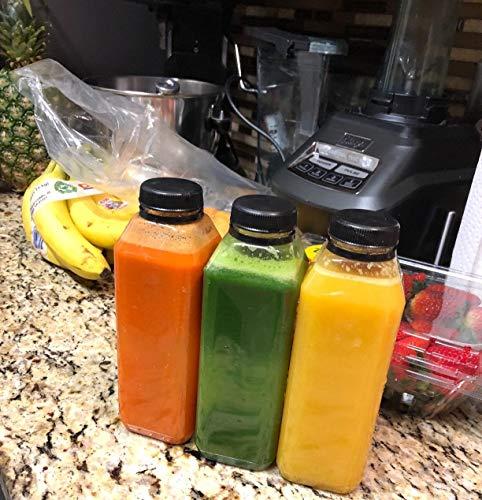 Empty Clear Plastic Juice Bottles Milk Bottles smoothie bottles with lids Food Grade BPA FREE with Black Tamper Evident caps 16 oz. plus 10' straws - white labels - 8 sets