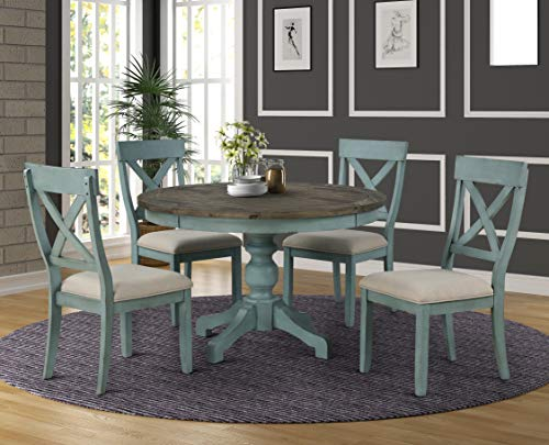 Roundhill Furniture Prato 5-Piece Round Dining Table Set with Cross Back Chairs, Blue