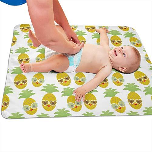 Kawaii ananas gezicht en glimlach knipperen ogen met zonnebril gewatteerd dikker langer waterdicht veranderen pad liners voor baby's 31.5 X 25.5 inch