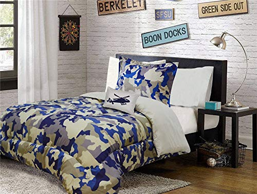Fancy Collection 6pc Kids/Teen Army Camouflage Beige Taupe Blue Comforter Set Twin Size New