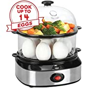 Electric Egg Cooker,14 Eggs Capacity Egg Boiler for Soft, Medium,Hard Boiled Eggs, Poached Eggs, Scrambled Eggs with Auto Shut Off