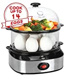 Egg Cooker,14 Eggs Capacity Hard Boiled Egg Steamer Rapid Egg Boiler with Two Layers