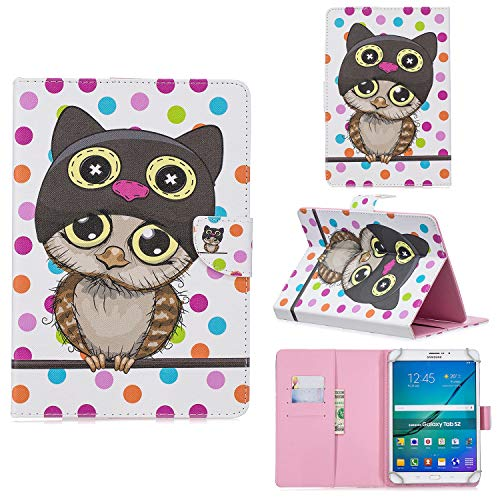 XTstore Funda Universal para Tablet de 8', Carcasa Flip Case Cubierta Protectora para Fire HD 8, Samsung Galaxy Tab S2 8.0,Huawei MediaPad T3 8, Lenovo Tab 3 850F/Tab4 8, iPad Mini 4/3/2/1, Búho
