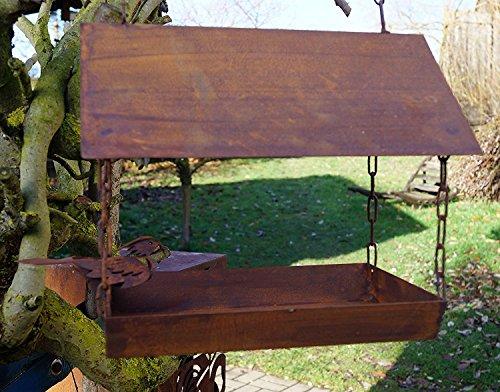 LDesign Edelrost Vogelhaus mit Ziervogel zum Aufhängen Garten Futterplatz Futterstation