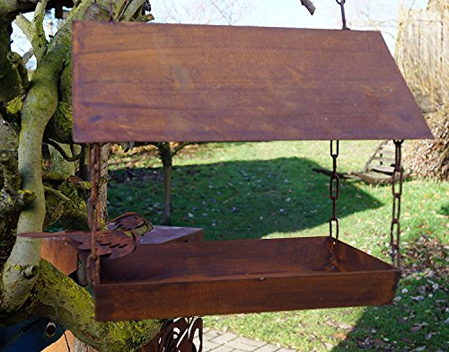 LDesign Edelrost Vogelhaus mit Ziervogel zum Aufhängen, inkl. Herz 8x6cm Garten Futterplatz Futterstation