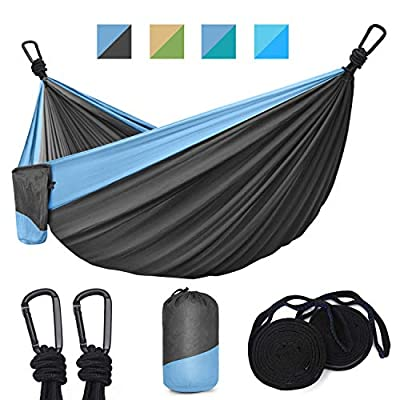 Hinastar Hammock Camping-Double & Single Portable Parachute Hammock with 2 Tree Straps(10 ft,19 Loops) and 2 Carabiners,Lightweight Nylon Parachute Hammocks (Dark Grey & Light Blue)