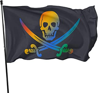Panpanrui Dazzle Jolly Roger Flag from Sturdy 100D Polyester - Canvas Header Brass Grommets Double Stitched from Wind Side