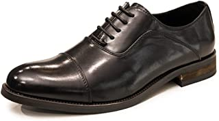 PengCheng Pang Business Oxford for Men Dress Shoes Lace up Microfiber Leather Pointed Toe Non-Slip Burnished Style Block Heel Three Joints (Color : Black, Size : 7 UK)