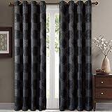 <span class='highlight'><span class='highlight'>eLuxurySupply</span></span> 2 Piece Lexington Jacquard Grommet Window Treatment Curtain Panels Drapes 104x84 - Black