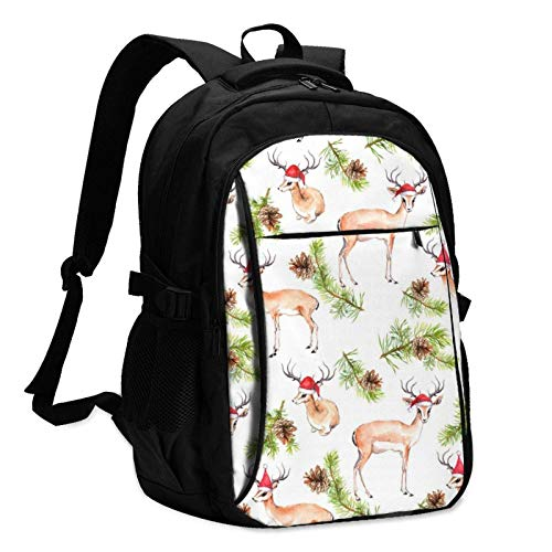XCNGG Mochila USB con múltiples Bolsillos, Mochila Informal, Mochila Escolar Christmas Tree Pine and Deer Unisex Travel Laptop Backpack with USB Charging Port School Anti-Theft Bag