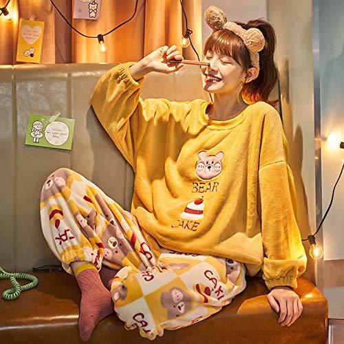 Cxypeng Damen Pyjama-Set aus Flanell,Langärmeliger Pullover-Pyjama aus...